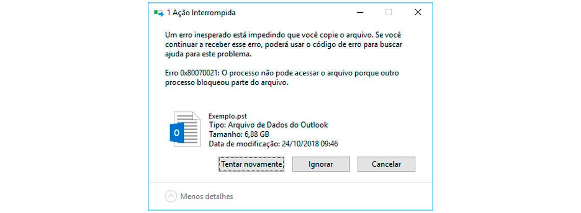 Tela Ação Interrompida - Erro 0x80070021