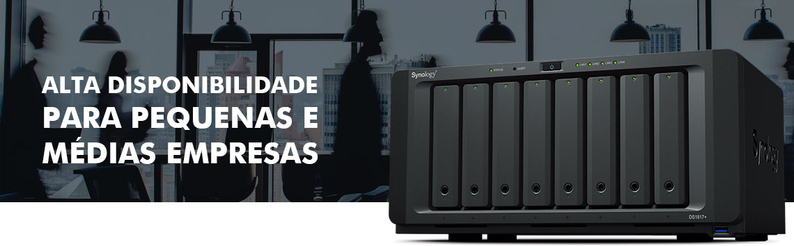 Storage Synology com alta disponibilidade e um ambiente de escritório ao fundo