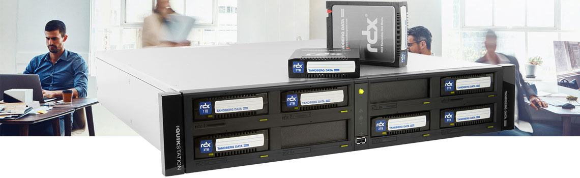 Arquivamento de dados em fitas, equipamento RDX QuikStation da Tandberg Data