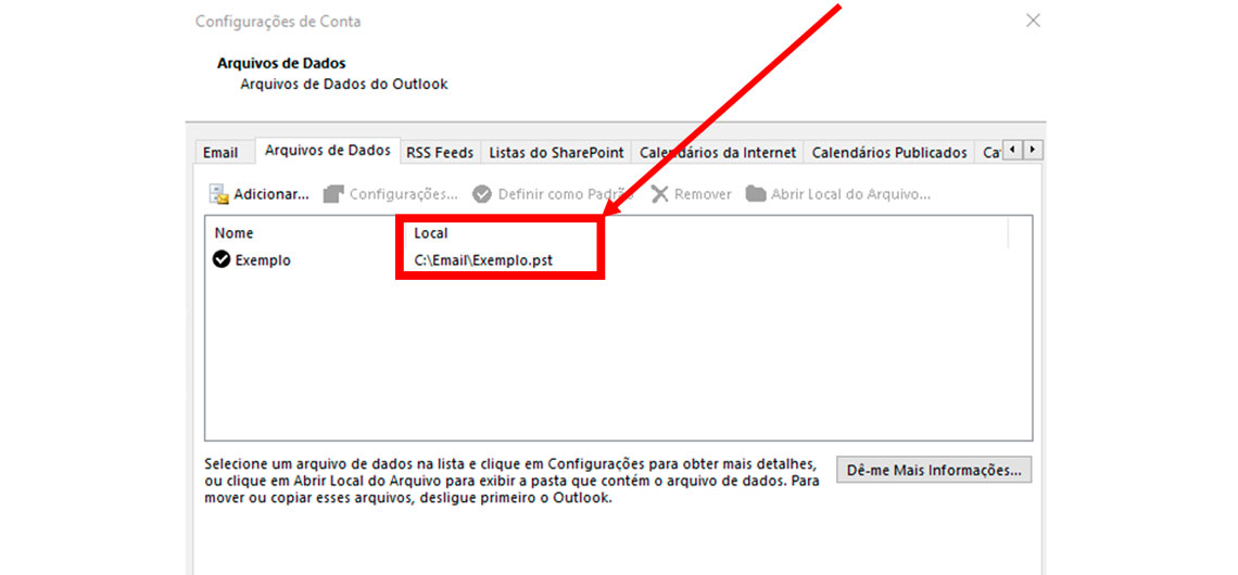 Tela do Outlook - Arquivos de dados