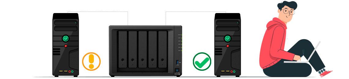 Backup bare metal, representado por um servidor com erro, feito um backup completo no storage e cópia completa em outro servidor