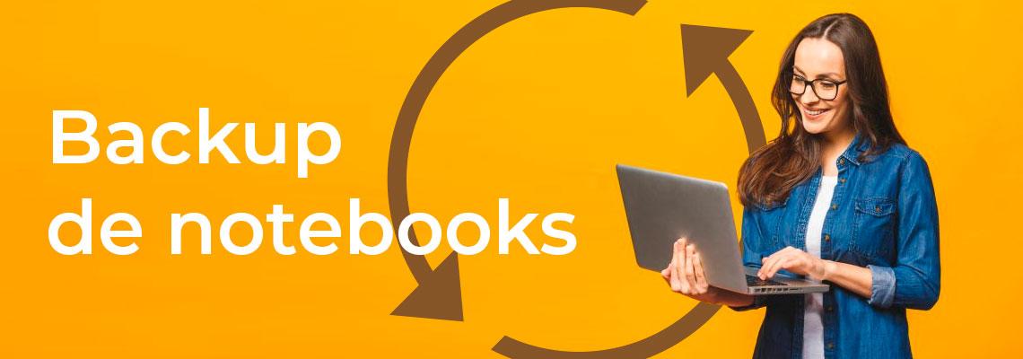 Backup de notebooks, mulher jovem segurando um notebook