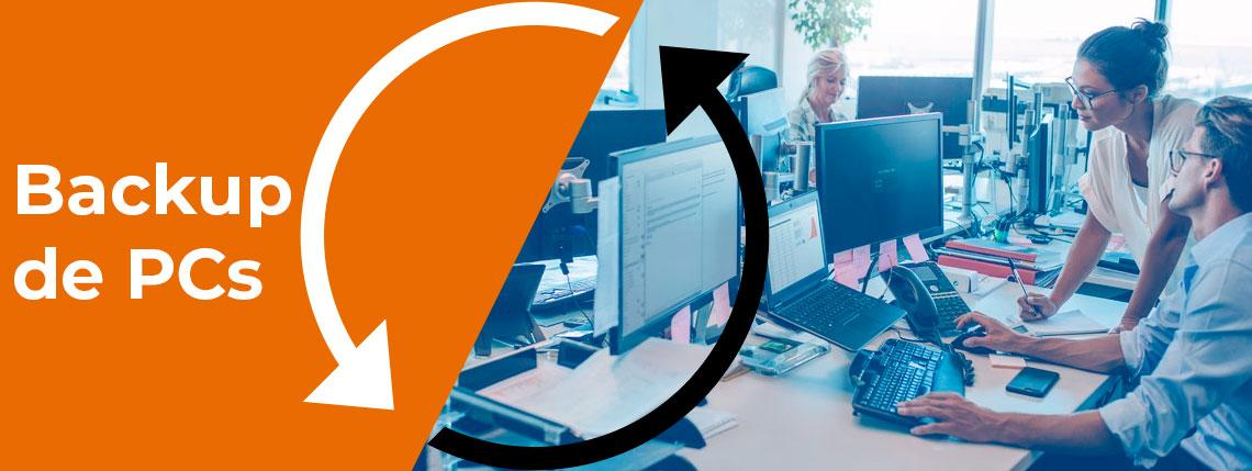 Backup de PCs, ambiente de escritório com vários PCs