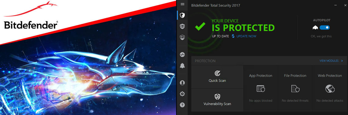 Logotipo Bitdefender ao lado da interface do antivírus