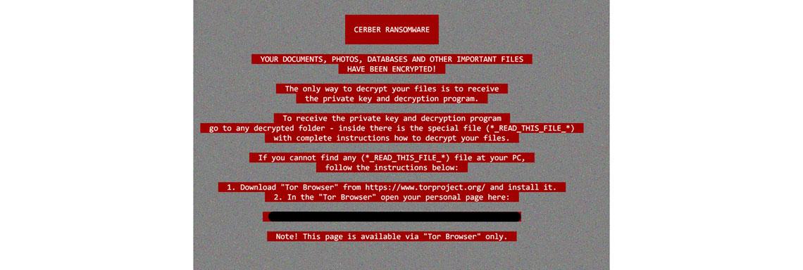 Tela de computador com a imagem de infecção por Cerber