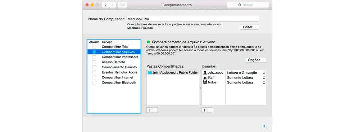 Compartilhar pasta na rede Mac OS X