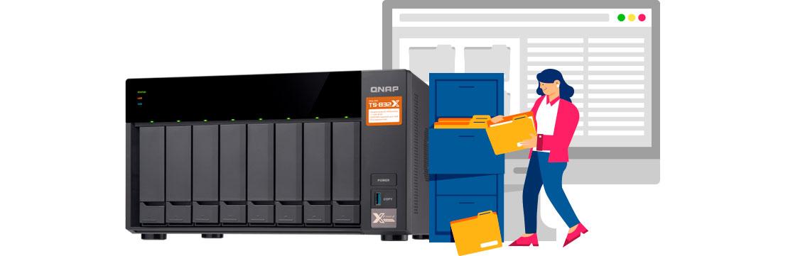 Como fazer a organização e gestão de documentos na minha empresa, storage NAS TS-832X sendo utilizado para armazenar os documentos digitalizados da empresa