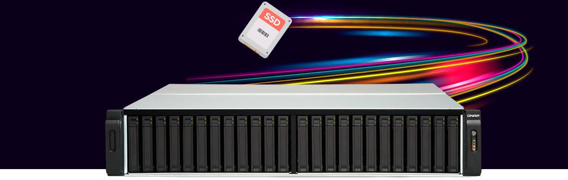 Sistema All Flash com um efeito gráfico ao fundo demonstrando alta velocidade de SSD