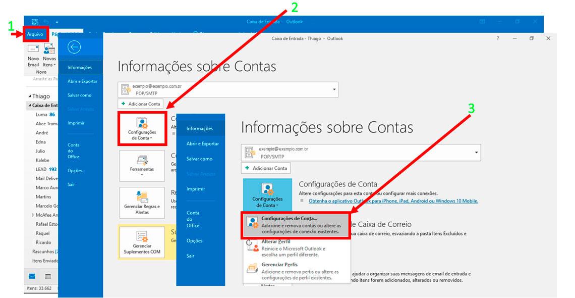 Tela do Outlook - Informações sobre Contas