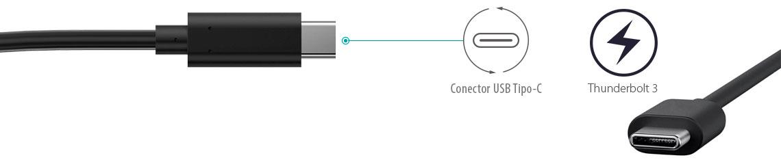 Conexão USB-C e Thunderbolt 3