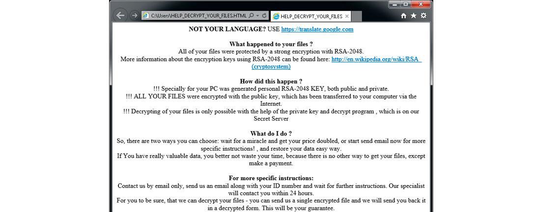 Tela do Ransomware - CryptoMix (Offline)