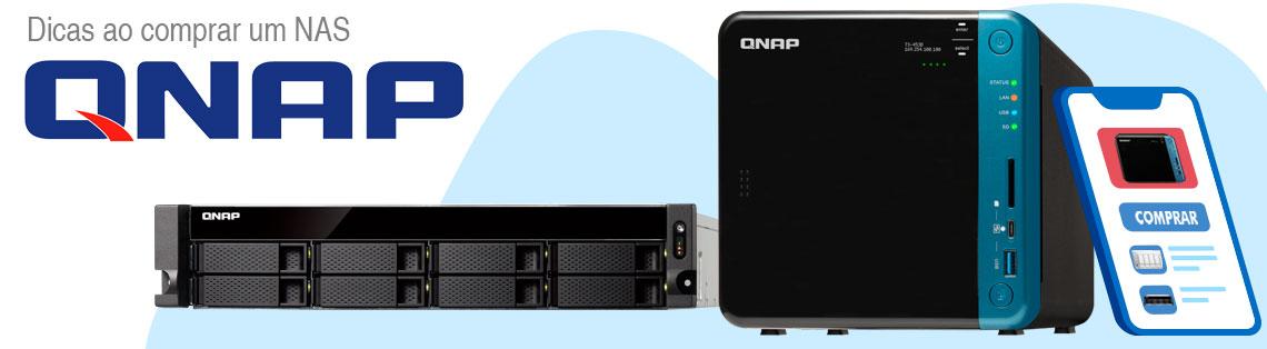 Dicas ao comprar um NAS Qnap, dois storages NAS lado a lado um de modelo rackmount e outro desktop com um celular ao lado em uma tela de compra