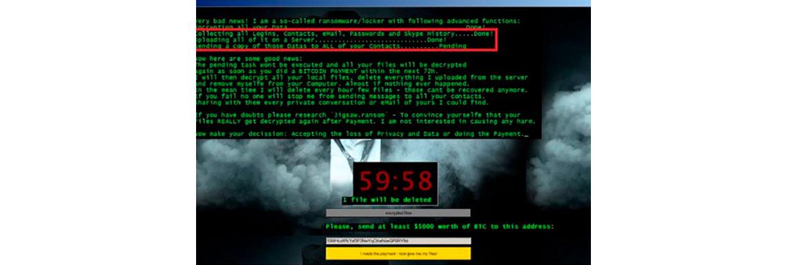 Tela de computador com a imagem de infecção por Doxware