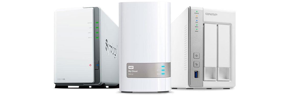 Equipamentos para armazenamento de dados dos fabricantes Qnap, Synology e Western Digital