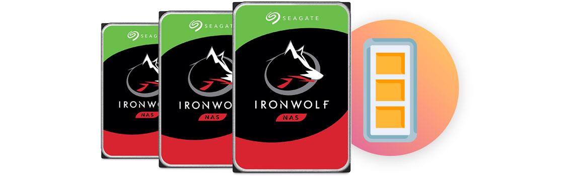 Espaço de disco disponível, HDDs Seagate da linha Ironwolf NAS ideais para storages com uma barra de espaço ao lado quase cheia, para indicar o espaço de armazenamento disponível