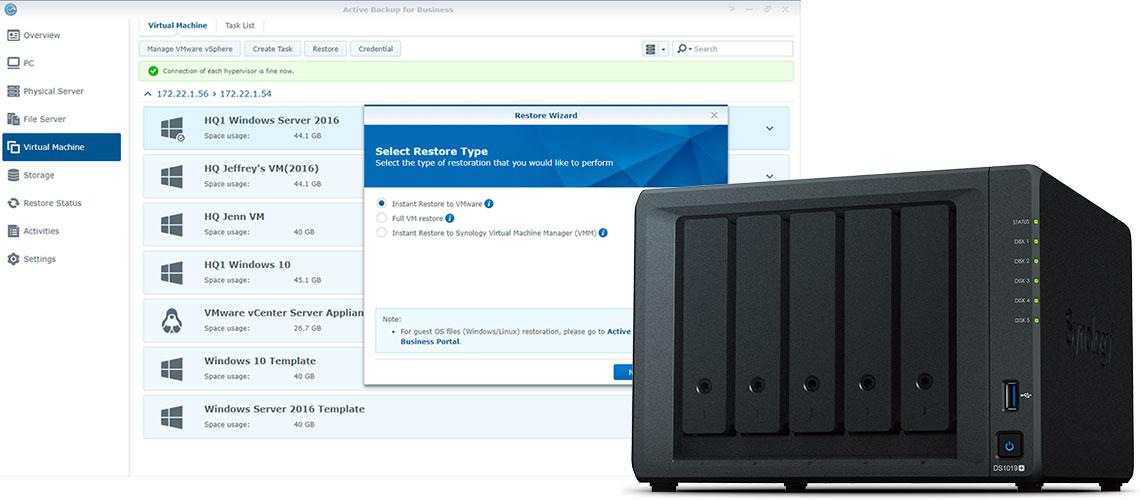 Fazendo backup de máquinas virtuais, Storage NAS DS1019+