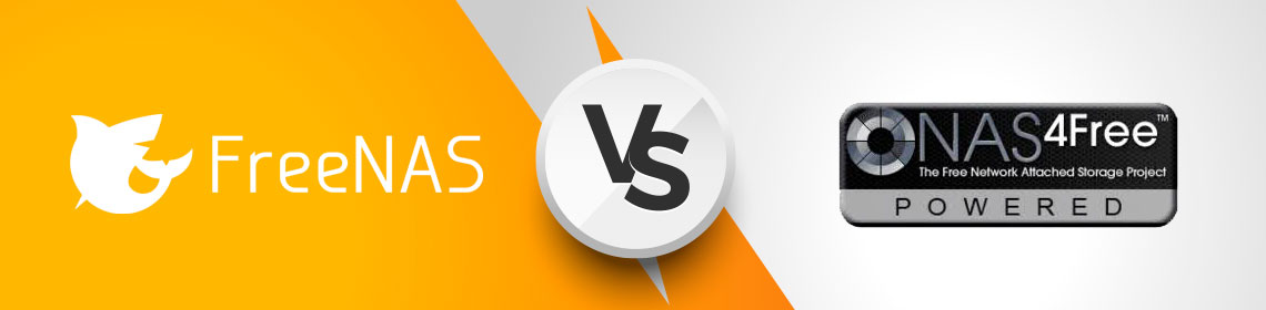 logo do FreeNas do lado esquerdo e logo do NAS4Free do lado direito e ao centro VS simbolizando uma disputa entre os dois