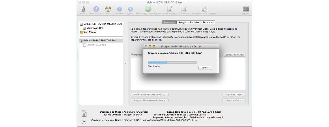 Gravar arquivo ISO em macOS, tela de gravação