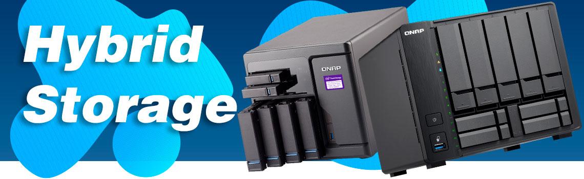 Hybrid Storage dois Qnap NAS hybrid ts-932x e tvs-682 ao lado