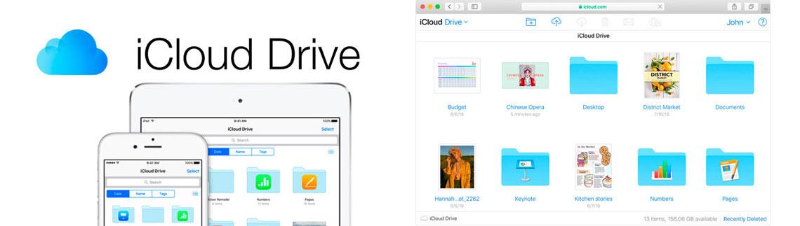 Logo iCloud Drive e interface de usuário