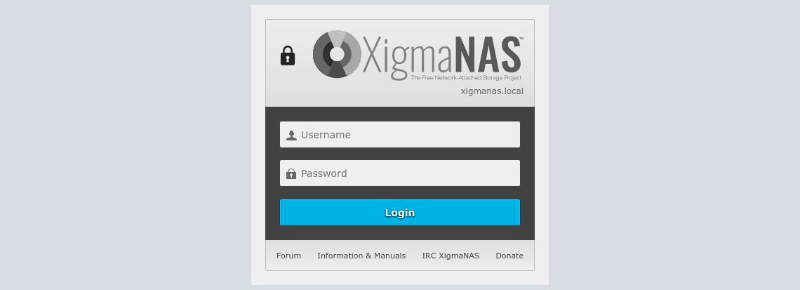 Tela de login do XigmaNAS