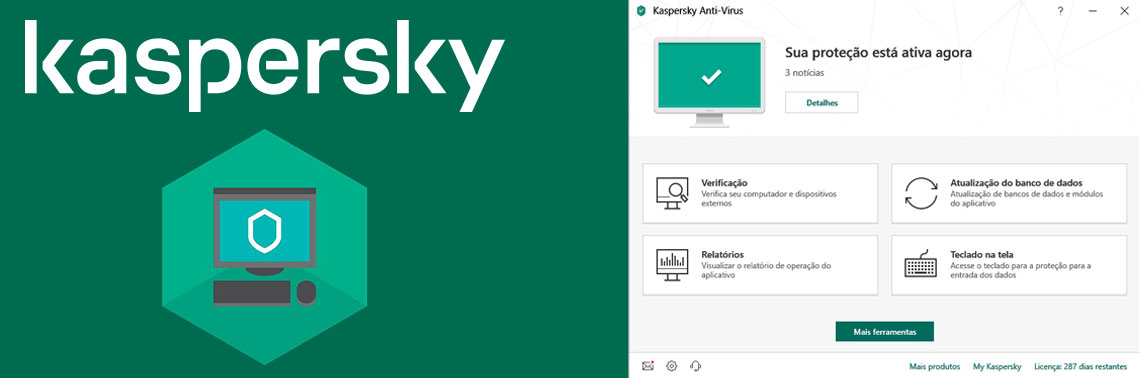Logotipo Kaspersky ao lado da interface do antivírus