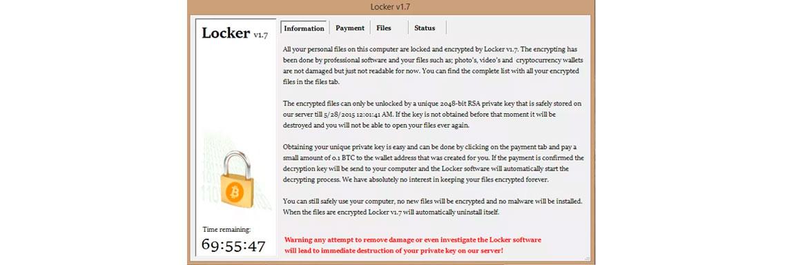 Tela de computador com a imagem de infecção por Locker