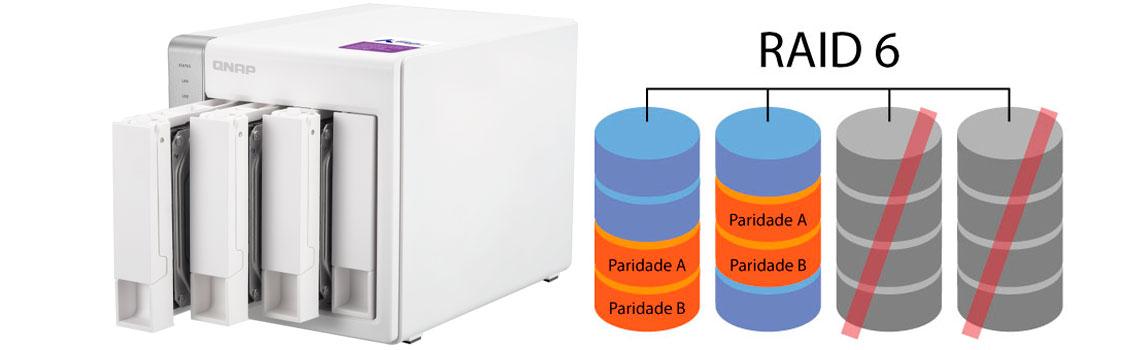 Monitoramento dos arranjos RAID, Qnap TS-431 com 4 discos em RAID 6 demonstrando que até 2 discos podem apresentar falhas