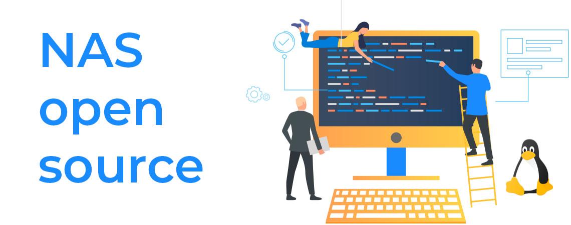 NAS open Source, imagem gráfica de três pessoas colaborando para montar um software open source