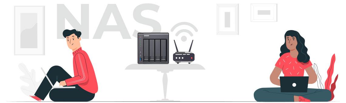 Sistemas de armazenamento NAS - Ilustração gráfica com um Storage NAS Qnap em um ambiente residencial com dois usuários acessando os arquivos via rede