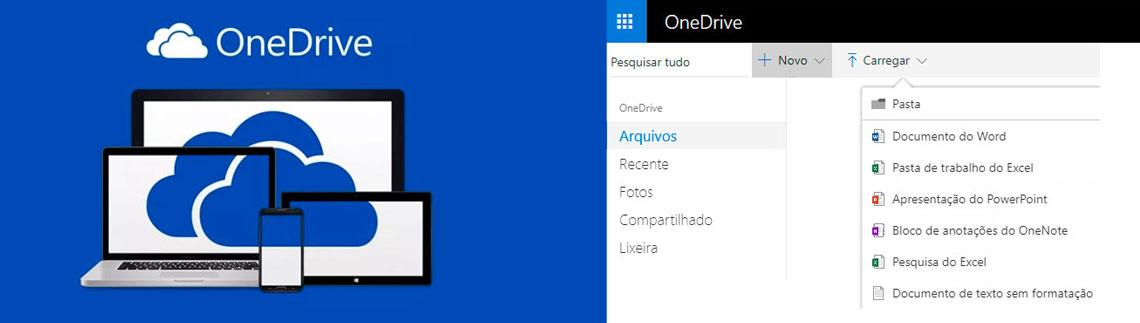 Logo OneDrive e interface de usuário