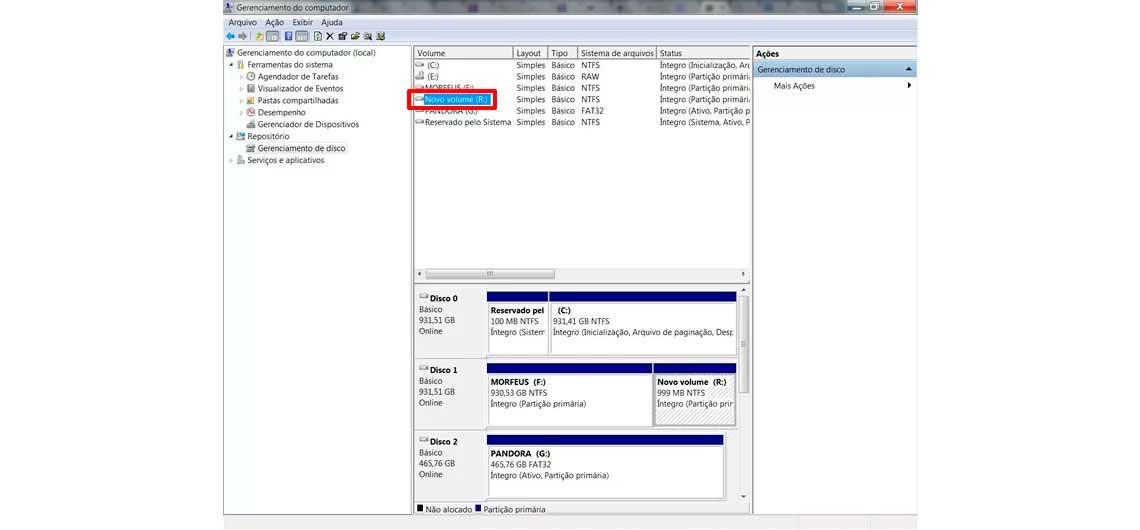 Tela de gerenciamento do computador no sistema Windows para partição de disco