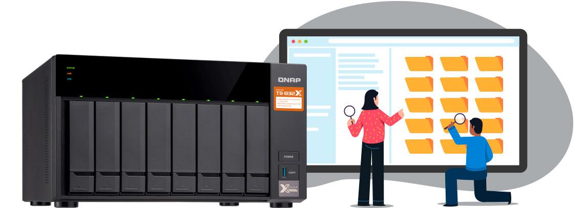 Storage Qnap TS-832X com politica de acesso aos arquivos armazenados.