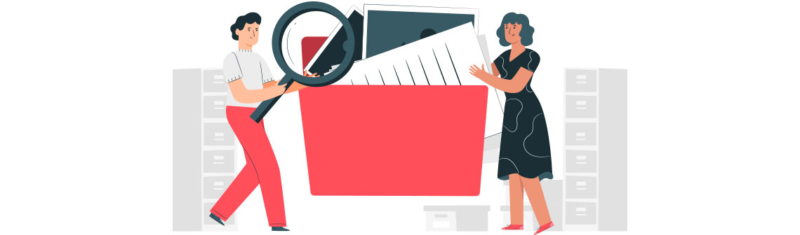 Por que a gestão dos documentos (físicos e digitais) é importante?, desenho com duas pessoas carregando uma pasta de arquivos em direção aos armários