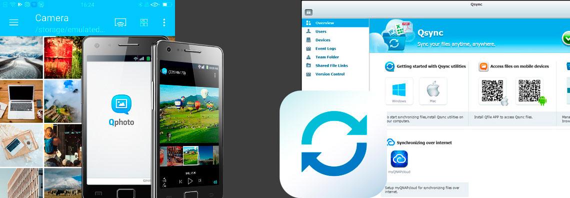 Imagens das telas dos aplicativos Qphoto e Qsync Qnap