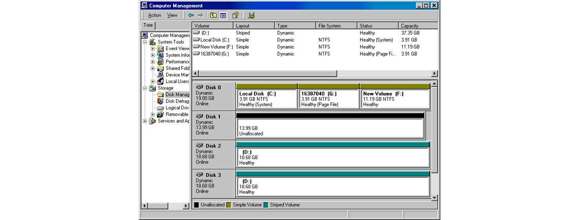 RAID por software, tela do software