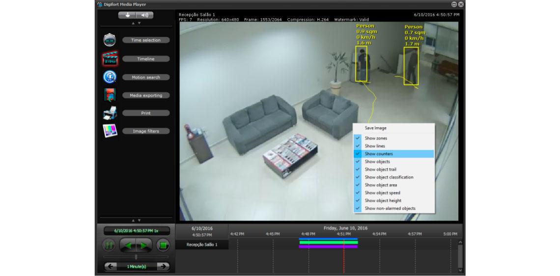 Recurso de gravação iniciada, tela de software de CFTV com recurso acionado