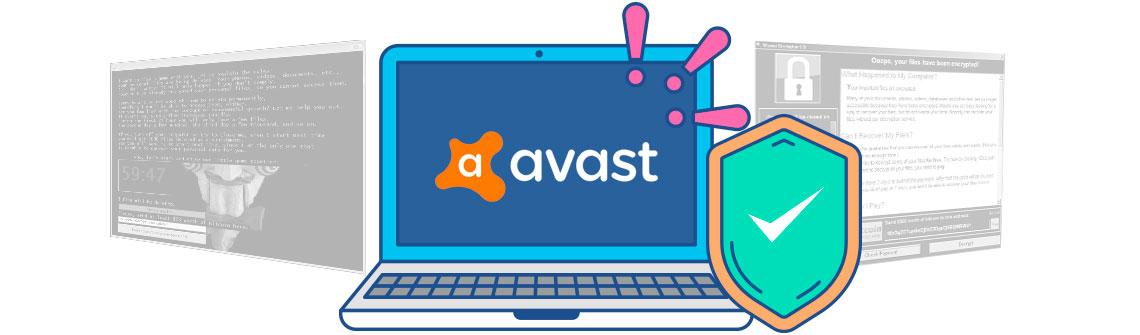 Computador no centro da imagem com o logo do Avast na tela e um escudo simbolizando segurança e duas telas de Ransomware ao fundo em preto e branco