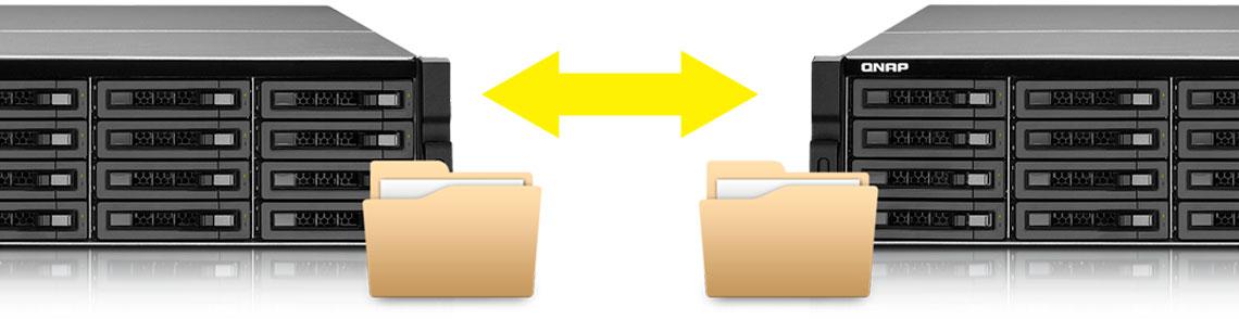 Dois storages Qnap realizando replicação de dados