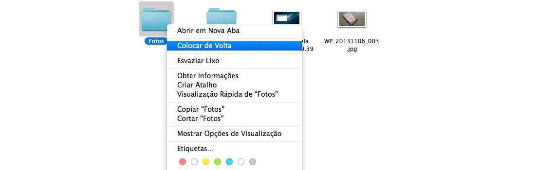 Tela da lixeira Mac com a opção de Colocar de Volta no arquivo apresentado na pasta