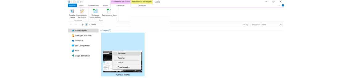 Tela da lixeira Windows com a opção de restaurar no arquivo apresentado na pasta