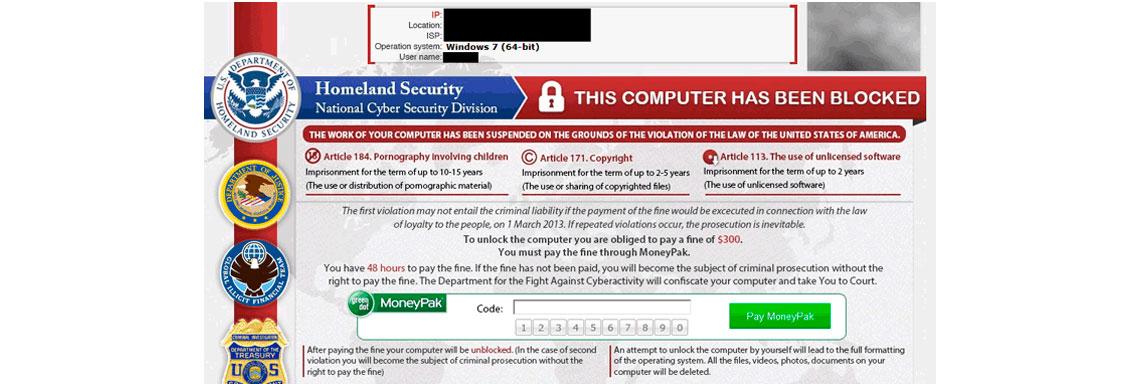 Tela de computador com a imagem de infecção por Reveton
