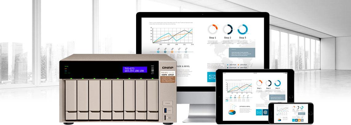 Storage Qnap com um computador, tablet e um celular obtendo acesso aos arquivos, economizando o tempo de deslocamento físico por parte do funcionário requisitante.