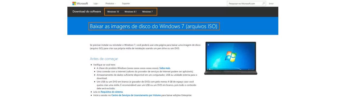 Sistema operacional Windows via imagem ISO