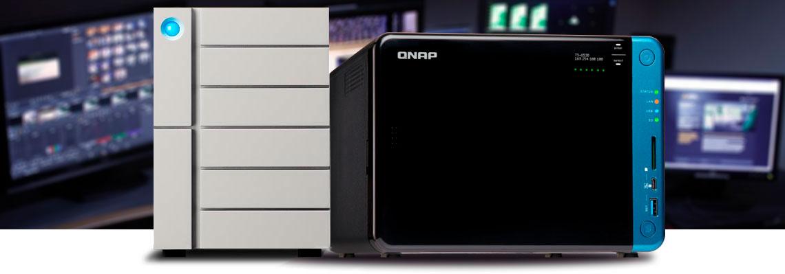 Sistemas de armazenamento Lacie 6Big e Qnap NAS TS-653B