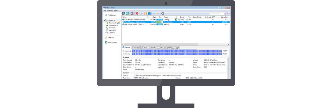 Softwares para download, tela de computador utilizando BitTorrent