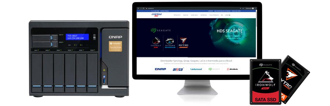 Qnap NAS com SSDs preparados para NAS Nitro e IronWolf ao lado