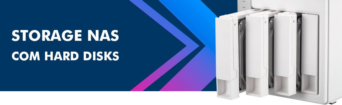 Storage NAS com Hard Disks - Qnap NAS 4 baias expostas com Hard disks instalados