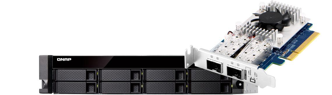 Qnap TVS-872XU storage com placa Mellanox