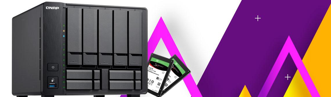 SSD no Storage NAS, QNNAP NAS TS-932X com ssds Seagate ao lado